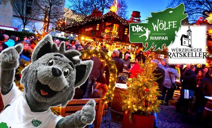 Wölfe auf dem weihnachtsmarkt