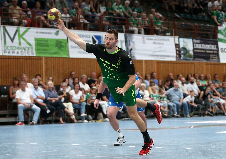v.li.: Dominik Schömig (DJK Rimpar Wölfe), Freisteller, Einzelbild, Aktion, 15.09.2019, Würzburg (Deutschland), Handball, 2. Bundesliga, DJK Rimpar Wölfe - TSV Bayer Dormagen