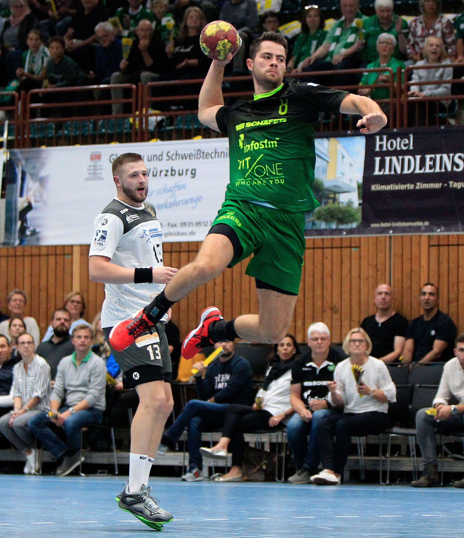 v.li.: Mindaugas Dumcius (HC Elbflorenz Dresden), Dominik Schömig (DJK Rimpar Wölfe), 28.09.2019, Würzburg, 2. Handball-Bundesliga, DJK Rimpar Wölfe - HC Elbflorenz Dresden