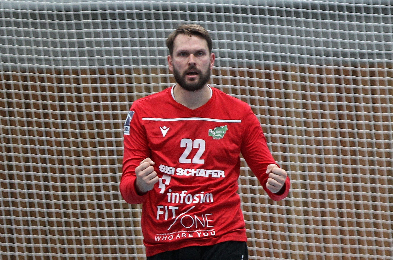 v.li.: Max Brustmann (DJK Rimpar Wölfe) jubelt, Einzelbild, 28.09.2019, Würzburg, 2. Handball-Bundesliga, DJK Rimpar Wölfe - HC Elbflorenz Dresden