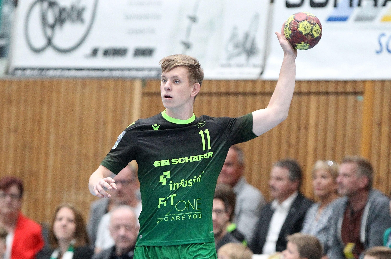 v.li.: Felix Karle (DJK Rimpar Wölfe), Einzelbild, 28.09.2019, Würzburg, 2. Handball-Bundesliga, DJK Rimpar Wölfe - HC Elbflorenz Dresden