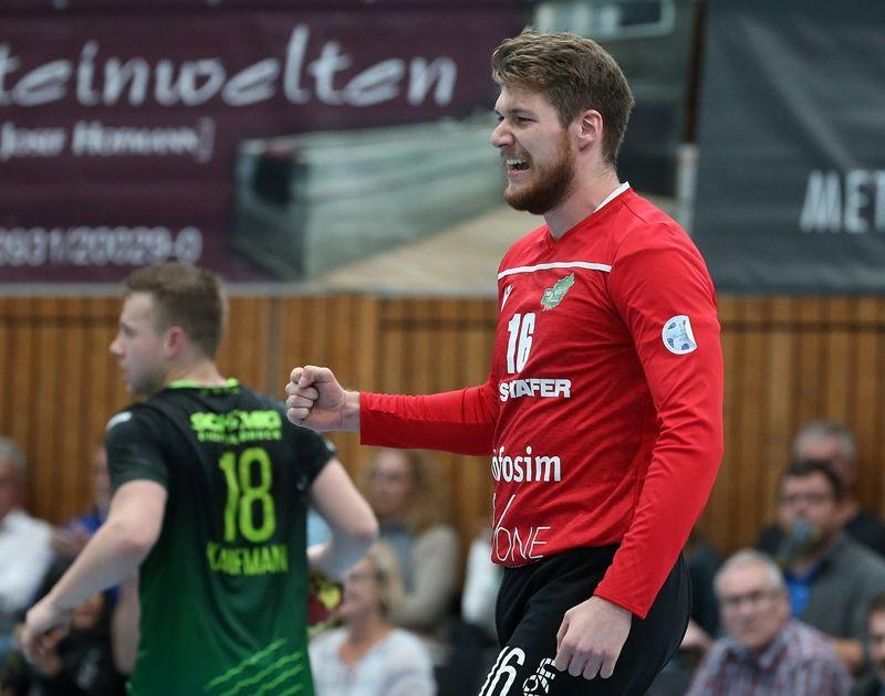 v.li.: Steffen Kaufmann (DJK Rimpar Wölfe), Andreas Wieser (DJK Rimpar Wölfe) jubelt, 31.10.2019, Würzburg, 2. Handball-Bundesliga, DJK Rimpar Wölfe - HSG Konstanz