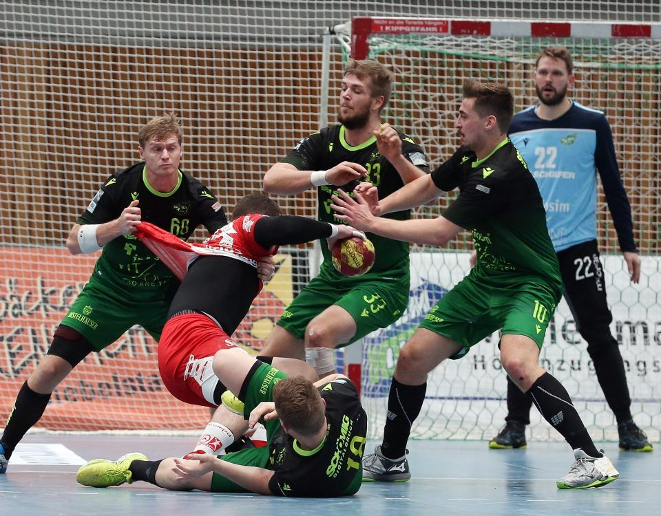 v.li.: Julian Sauer (DJK Rimpar Wölfe), Rolando Urios Gonzalez (TuSEM Essen), Steffen Kaufmann (DJK Rimpar Wölfe), Michael Schulz (DJK Rimpar Wölfe), Lukas Böhm (DJK Rimpar Wölfe), Max Brustmann (DJK Rimpar Wölfe), 03.11.2019, Würzburg (Deutschland), 2. Handball-Bundesliga, DJK Rimpar Wölfe - TuSEM Essen